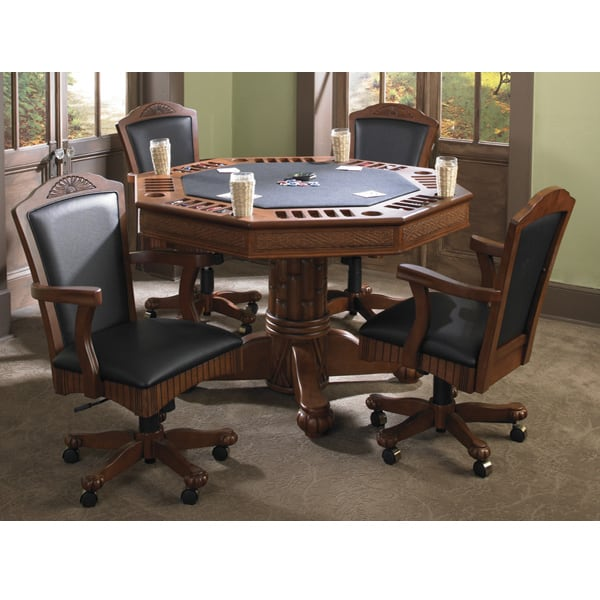 Awesome Unique 2 In 1 Game Table From American Heritage With Rattan Accents U0026  Amaretto Finish