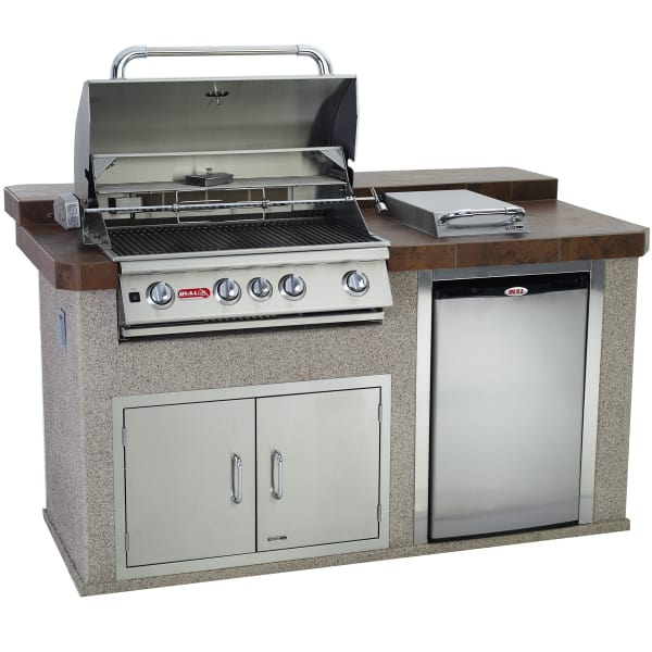 Gourmet Q Outdoor Grill Island By Bull Outdoor Products: Power-Q Raised Back Grill Island