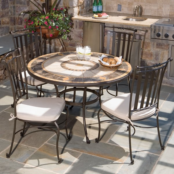 5 piece compass mosaic outdoor dining set from alfresco home. Black Bedroom Furniture Sets. Home Design Ideas