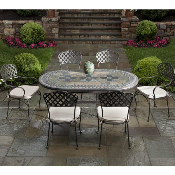 7 Piece Cremona Mosaic Outdoor Patio Dining Set From Alfresco