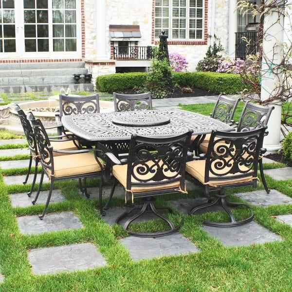 Victoria cast aluminum dining patio furniture by alfresco