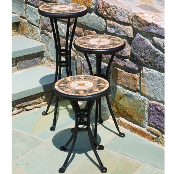 Classic Wrought Iron U0026 Handcrafted Marble Form These Three Plant Stands ...