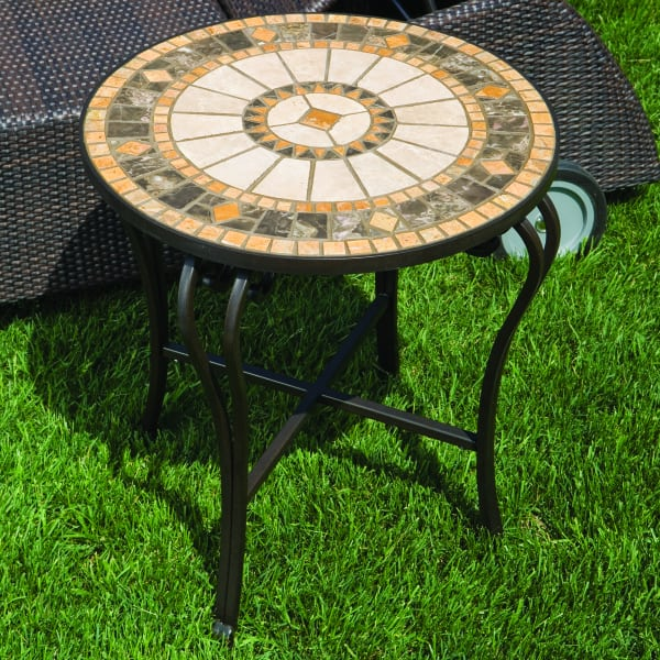 Compass Marble Mosaic Side Table