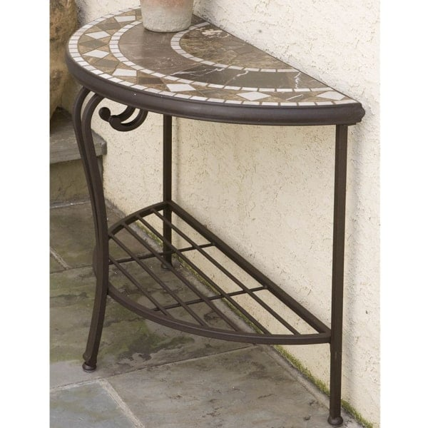 Galileo Marble Mosaic Half Moon Console Table