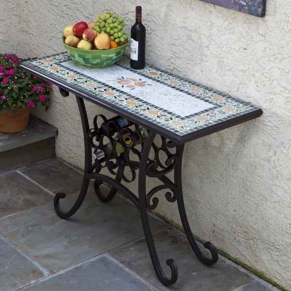 Classic Wine Console Offers Handcrafted Marble U0026 Elegantly Curved Wrought  ...