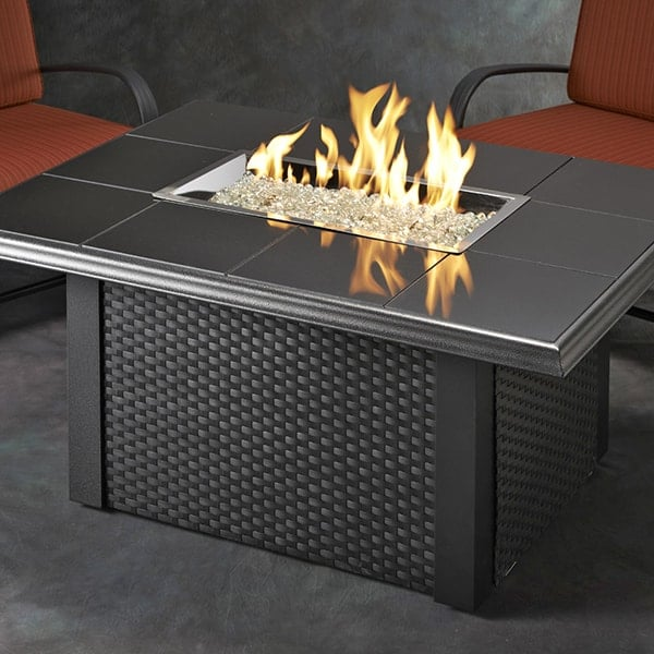 Napa Valley Fire Pit Table Black Wicker