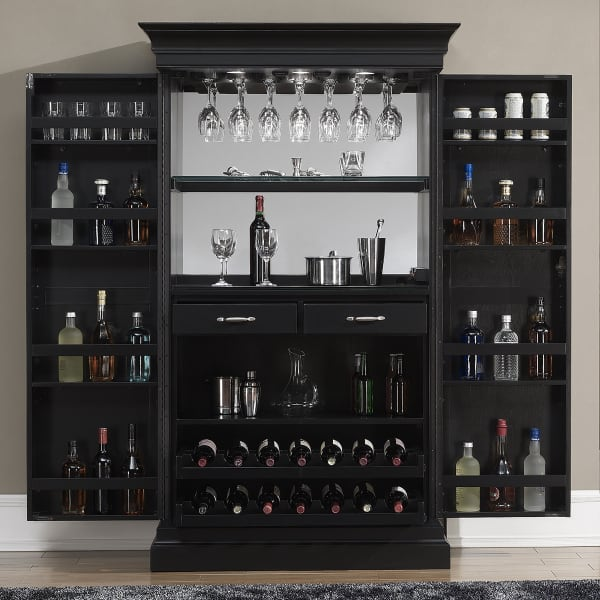 Black Home Bar Furniture: Angelina Black Wine & Bar Cabinet
