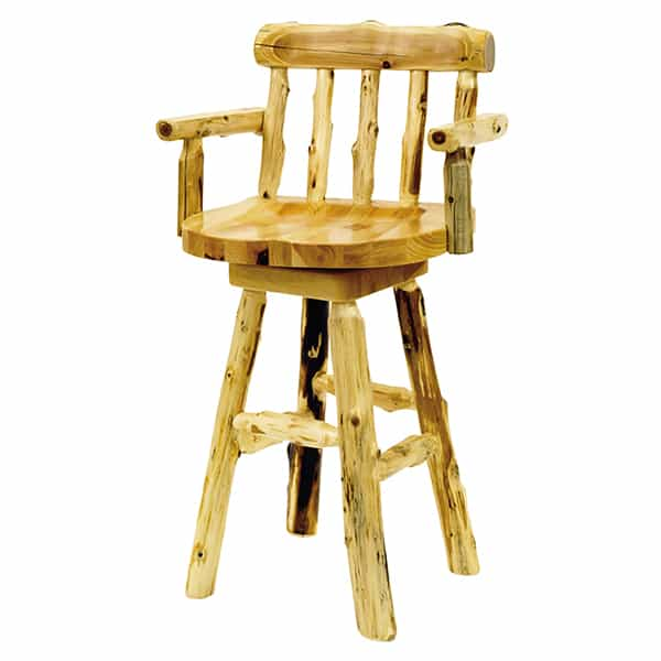 Cedar Log Counter Stool With Arms By Fireside Lodge Furniture