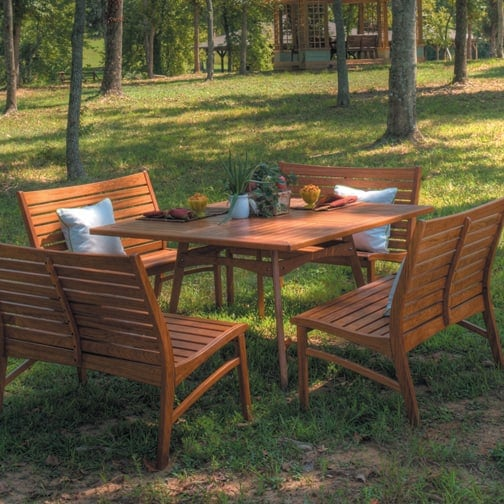 Venice Wood Dining Patio Furniture By New River