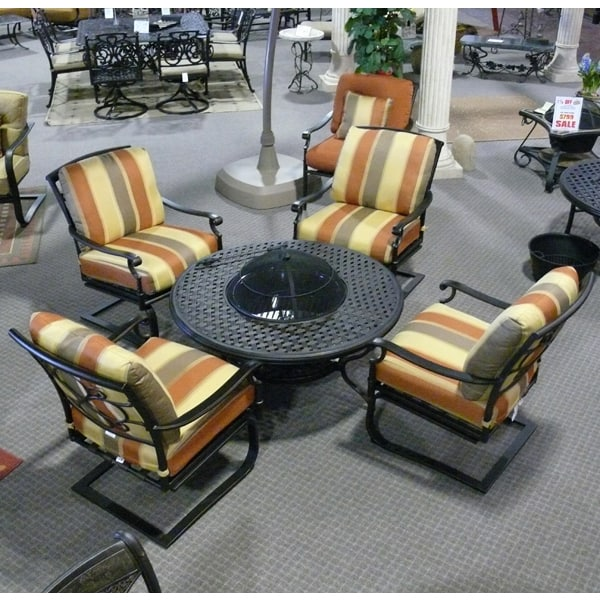 5 Piece Vista Deep Seating Fire Pit Patio Set