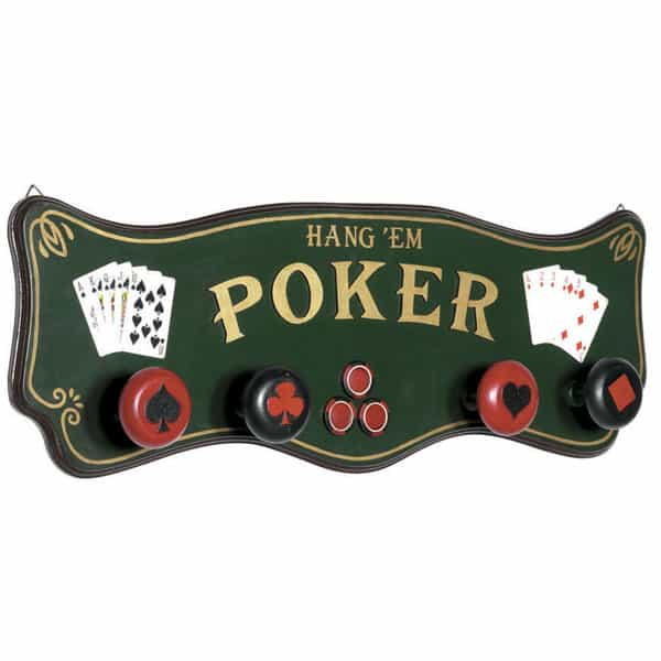 Poker coat rack by r a m game room game room decor for Decoration poker