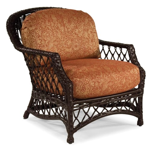 Casual line patio furniture maddux dining ovation padded for Real wicker outdoor furniture