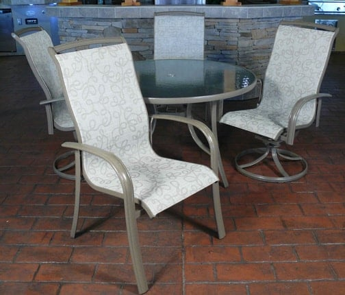 Monterey sling dining set by agio for Agio sling chaise lounge