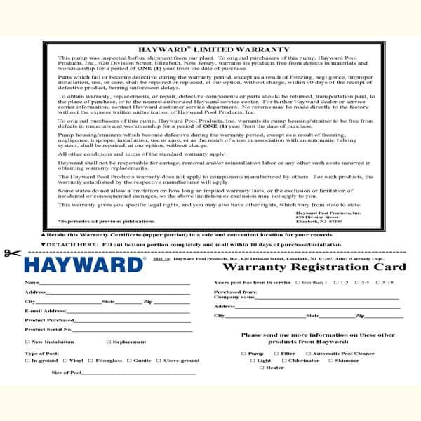 Hayward 1.5 HP Pump & Motor on