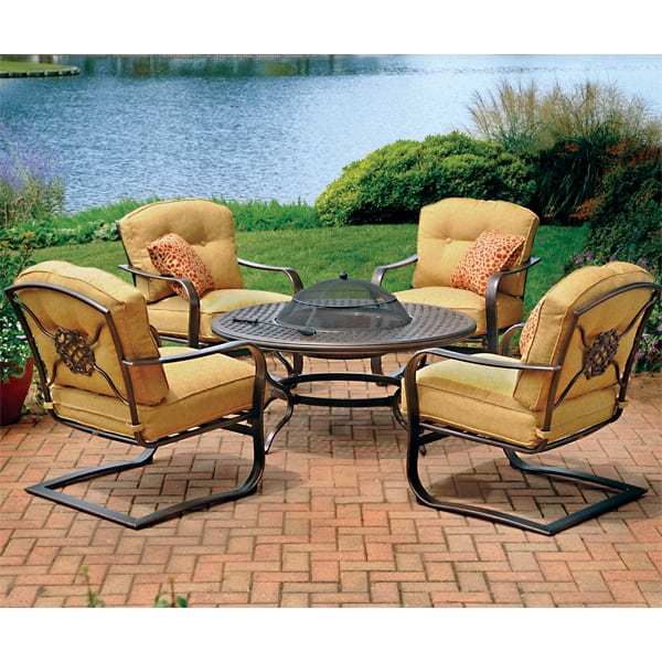 5 Piece Heritage Deep Seating Fire Pit Patio Set