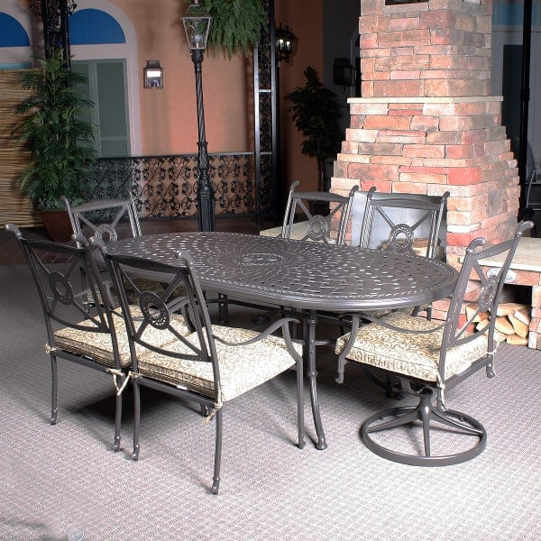 hampshire 7 piece cast aluminum patio dining set leisure select