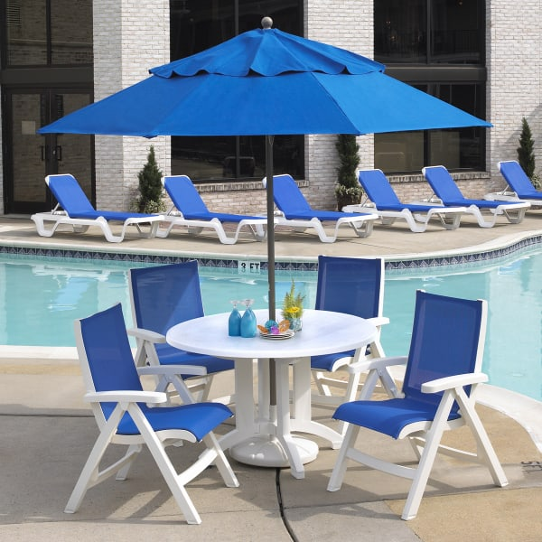 Belize sling chair white 2 pack by grosfillex for Poolside table and chairs