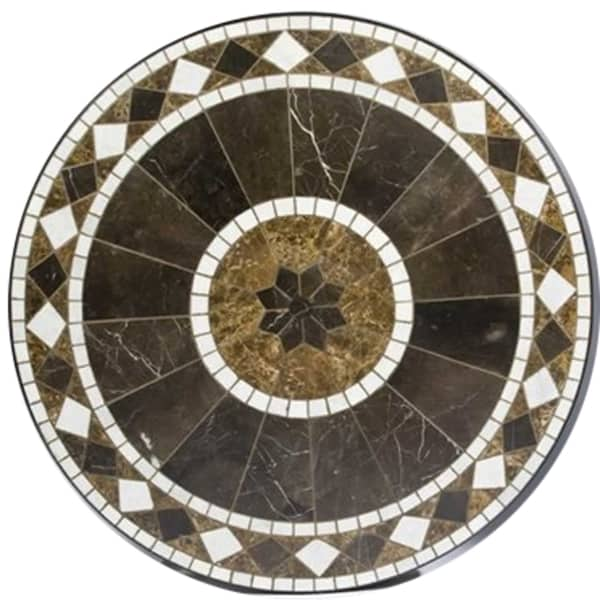 mosaic tile outdoor dining table round casual patio furniture marble top