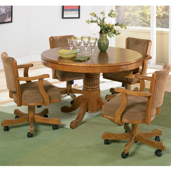 New Rochelle Oak Three In One Game Table Set