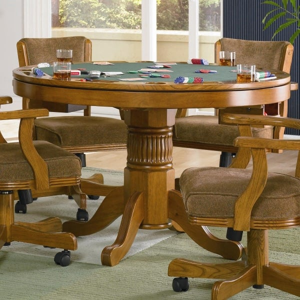 Poker Dining Room Table: Oak Three In One Game Table Set