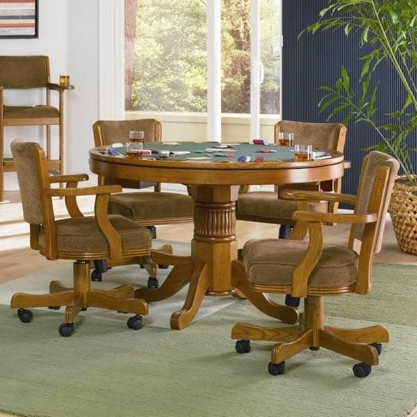 New Rochelle Oak 3 In 1 Poker Table Set By Leisure Select