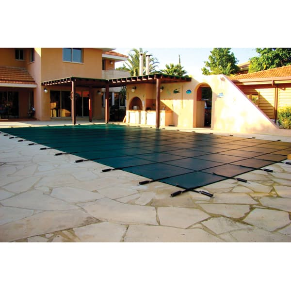 Rectangle safety cover green mesh for Cheap rectangle pools