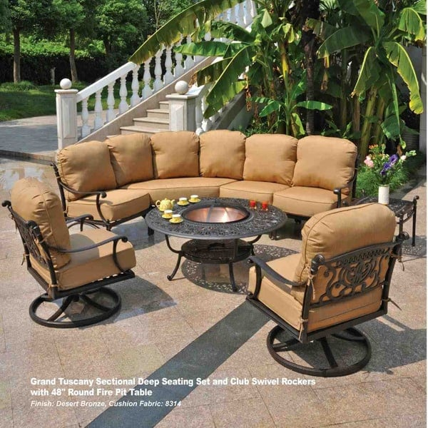 grand tuscany fire pit set by hanamint