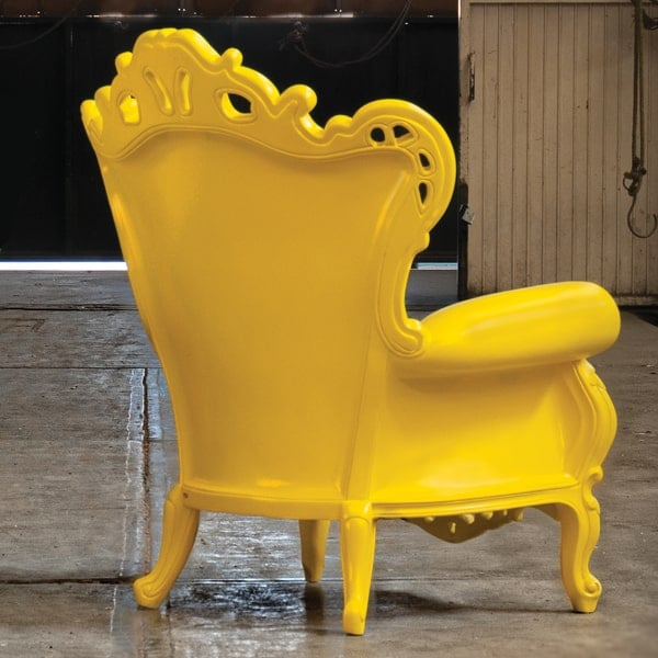 Plastic luigi armchair yellow by polart deep seating for Outdoor furniture yellow