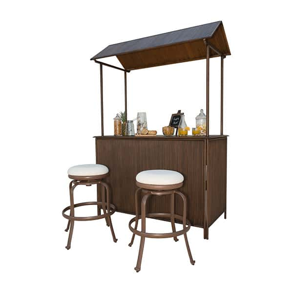 Tiki Bar 3 Pc Backless Barstool Set