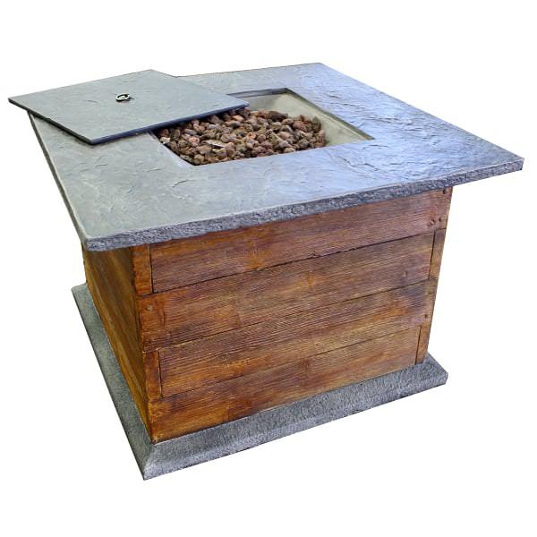35 Quot Rustic Oak Fire Pit Table