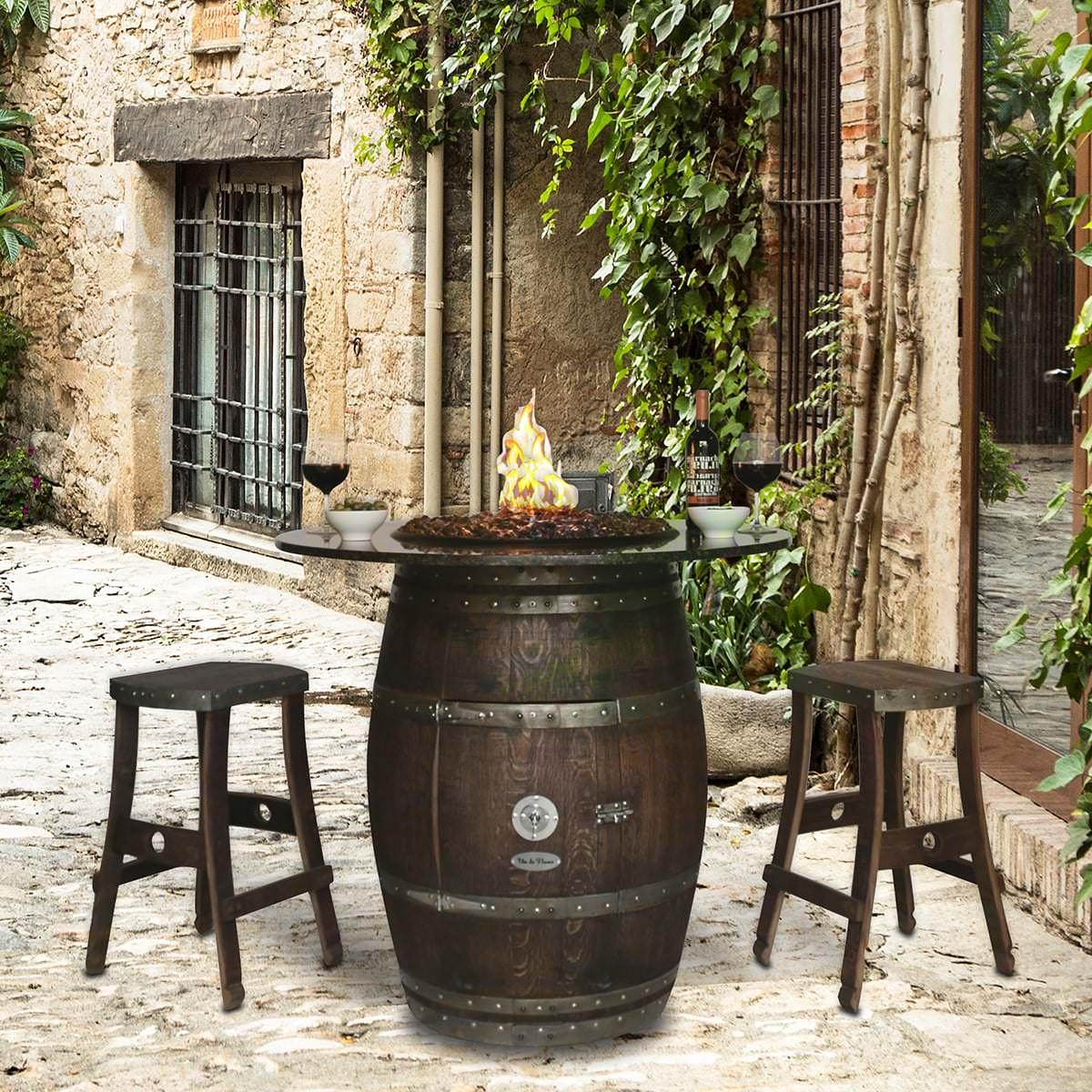 Grand Wine Barrel Fire Pit Table Granite