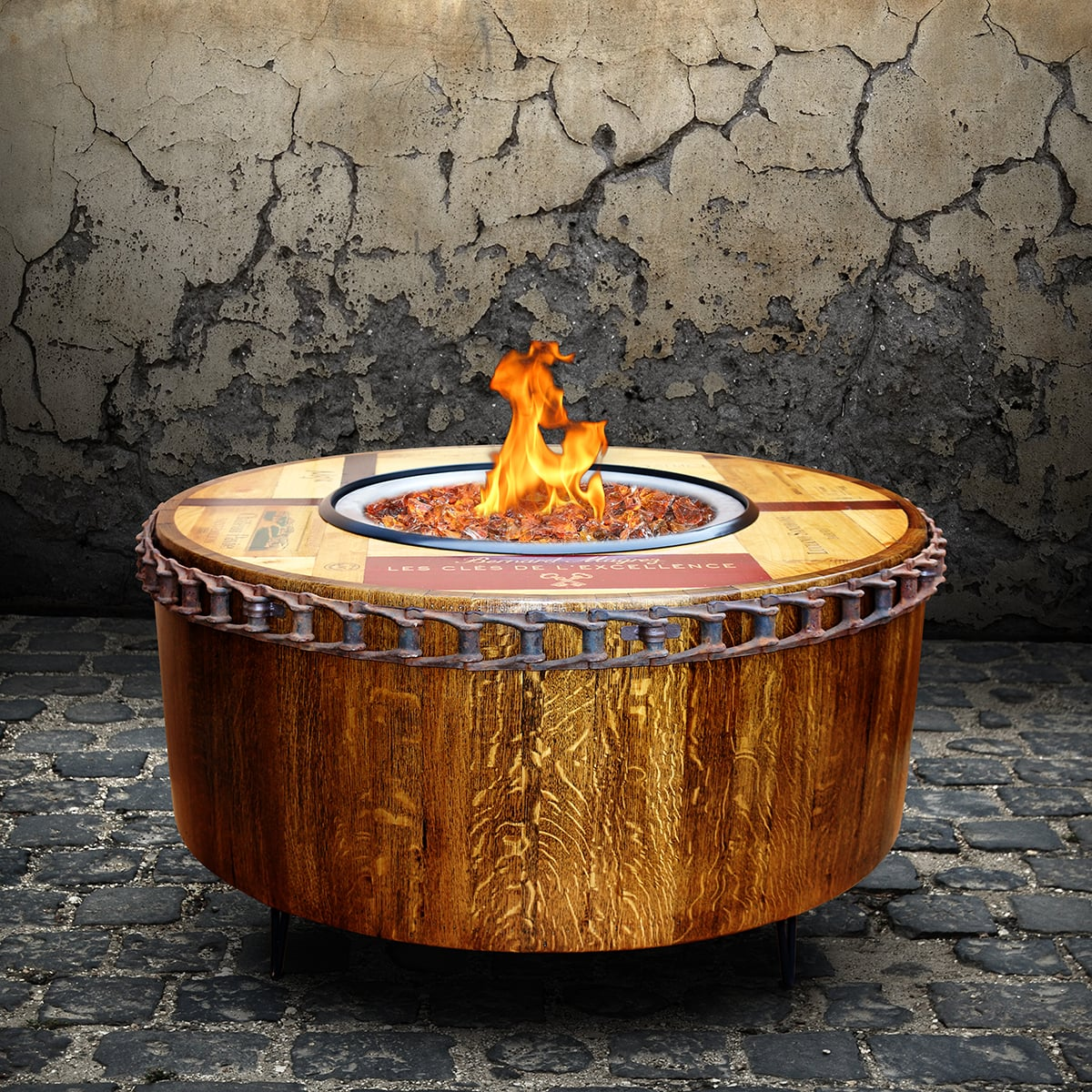 - Moderna Wine Barrel Fire Pit Table