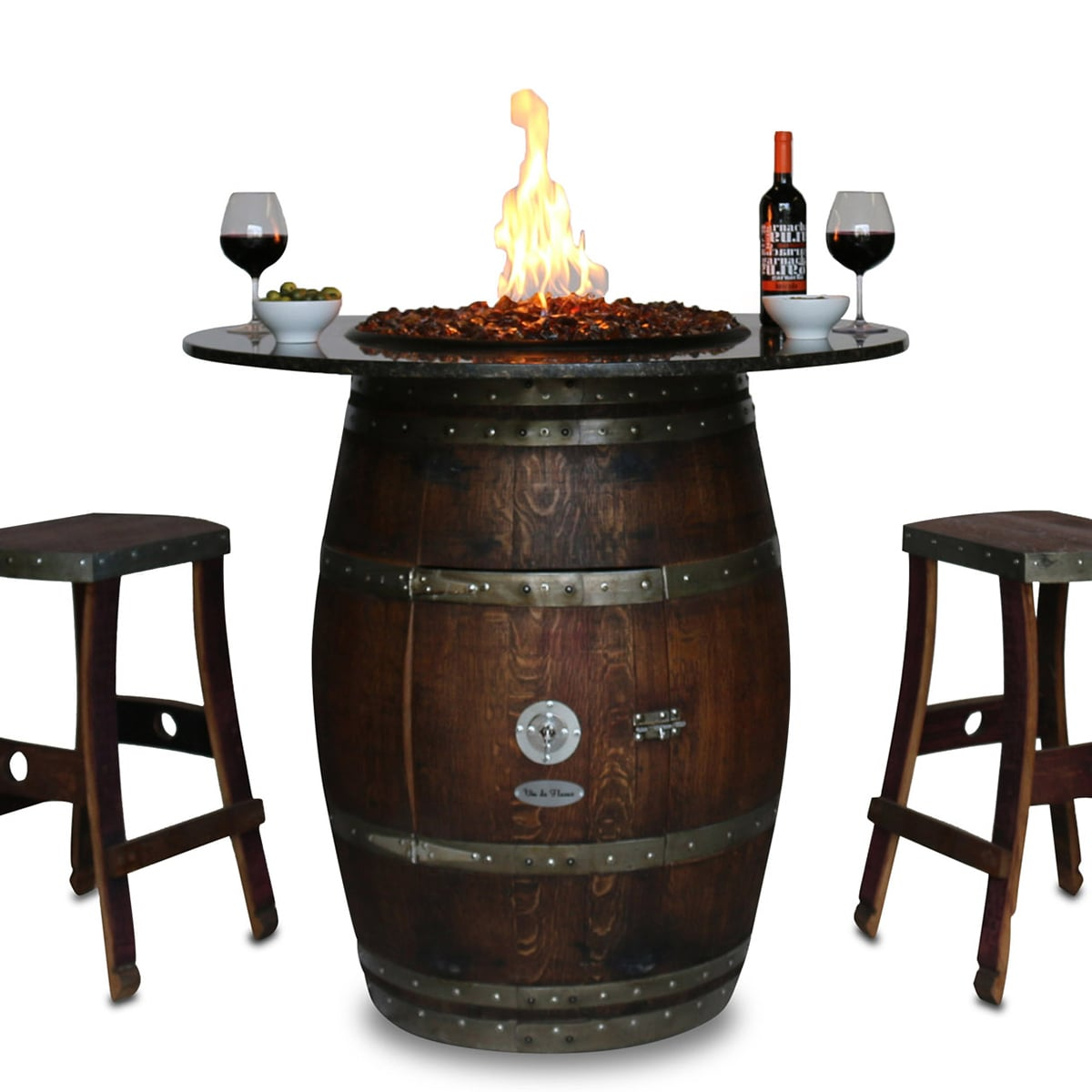 Grand Wine Barrel Fire Pit Table Granite