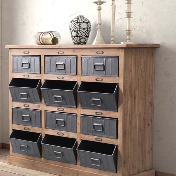 Natural Pine Kitchen Cabinets: Haricot Cabinet Natural Pine & Industrial Gray