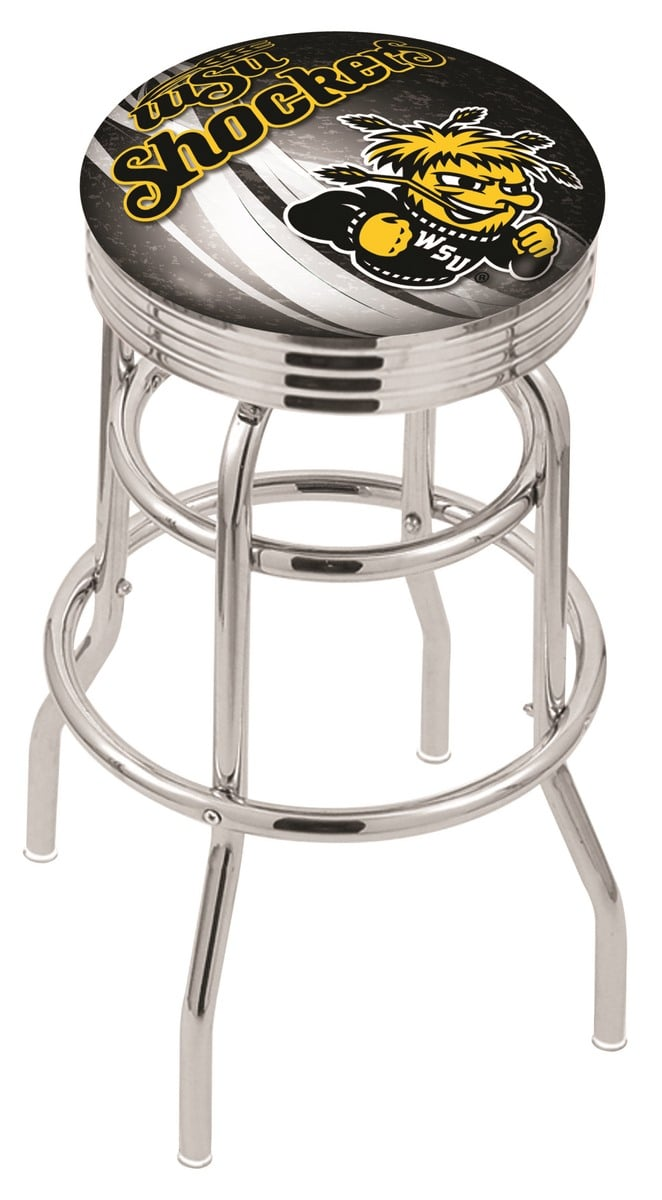Wichita state counter height bar stool w official college logo family leisure Home bar furniture wichita ks