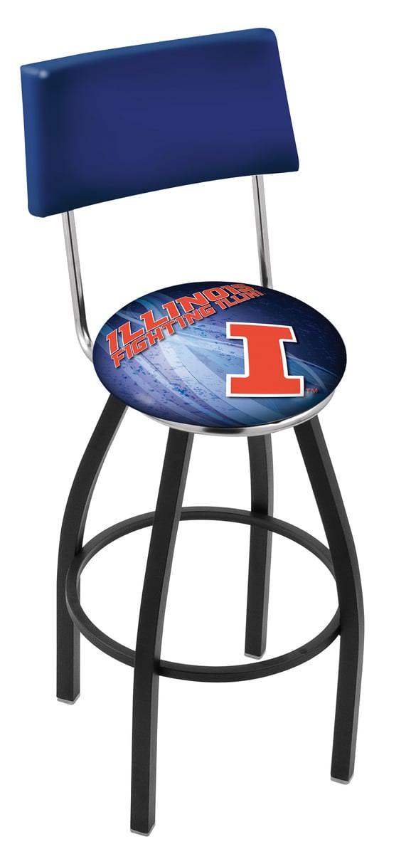 Illinois Bar Stool W Official College Logo Family Leisure