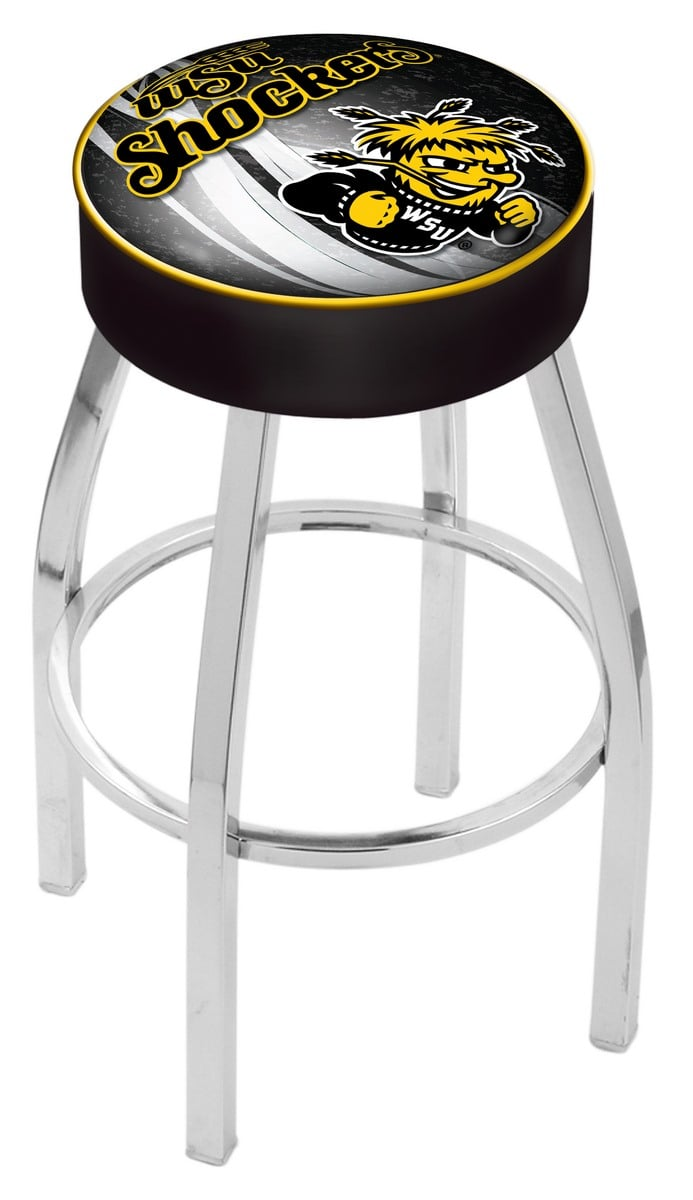 Wichita state bar stool w official college logo family leisure Home bar furniture wichita ks