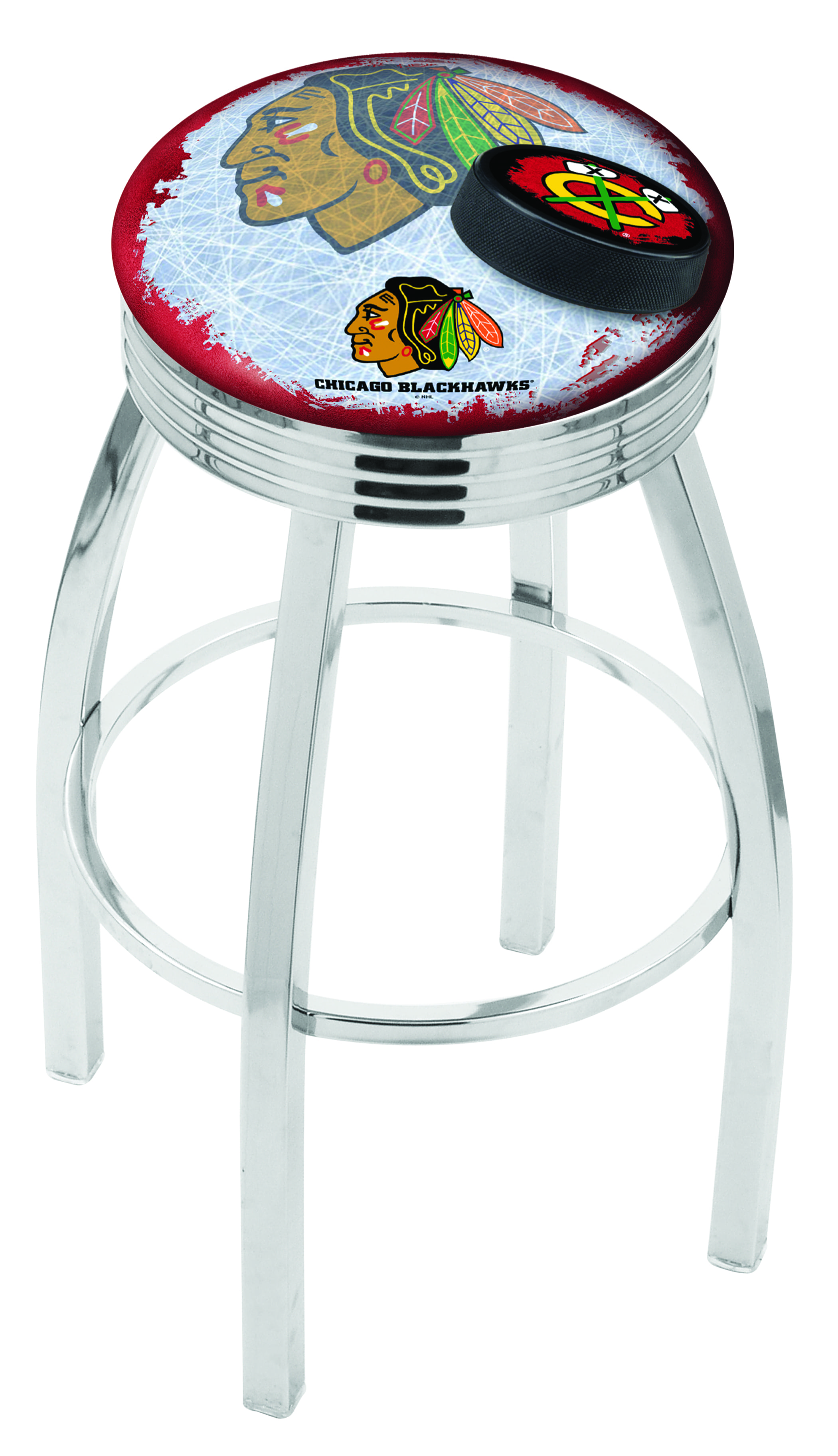 Chicago Blackhawks Bar Stool W Red Background W Official