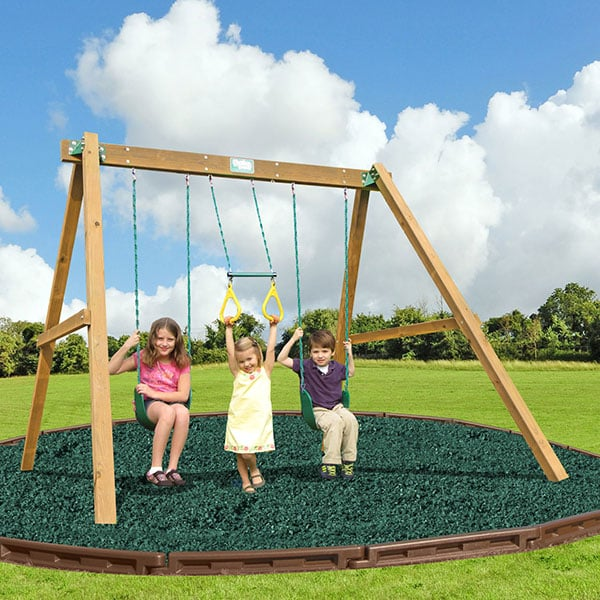 Classic With Swing Beam Wooden Swing Set By Creative