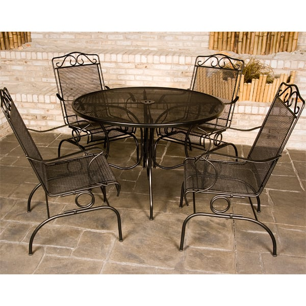 Napa wrought iron patio set by meadowcraft for Rod iron patio furniture