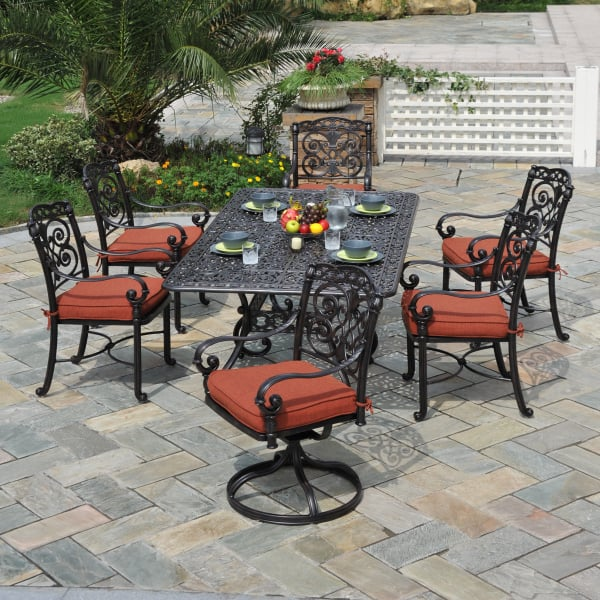 Relax In Style On Your Patio With The Sienna Outdoor Cast Aluminum Dining  Set ...