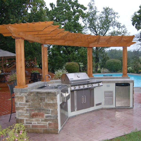 Windhaven grill island project for Outdoor kitchen gazebo design