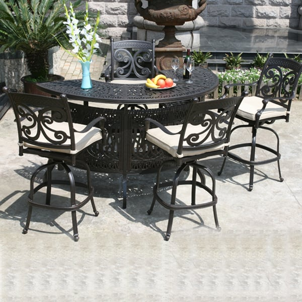 Farfalla Cast Aluminum Outdoor Bar W Stools By Alfresco