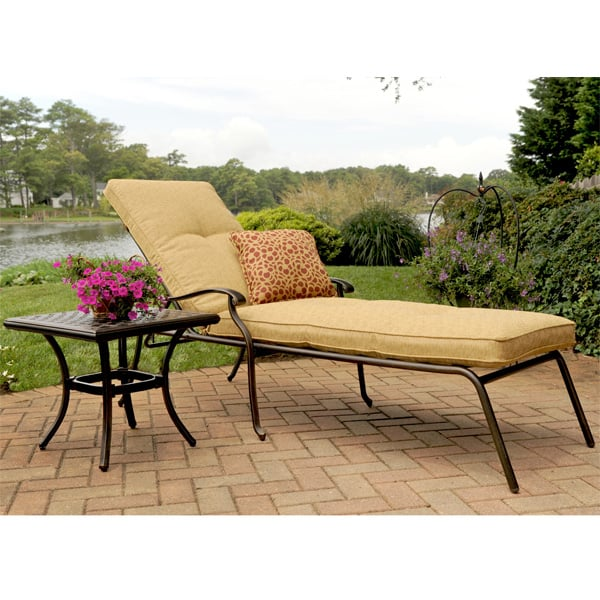Heritage outdoor aluminum chaise lounge with cushion for Agio heritage chaise lounge