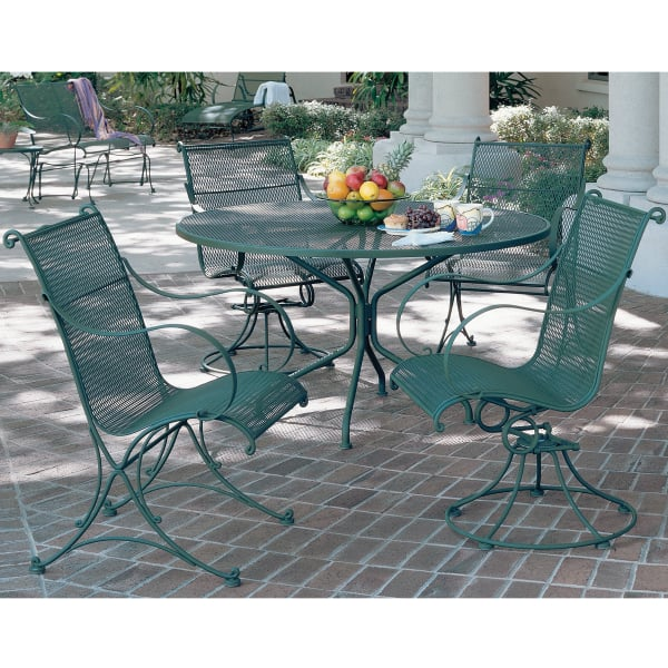 this traditional outdoor furniture offers reliable handrolled wrought iron