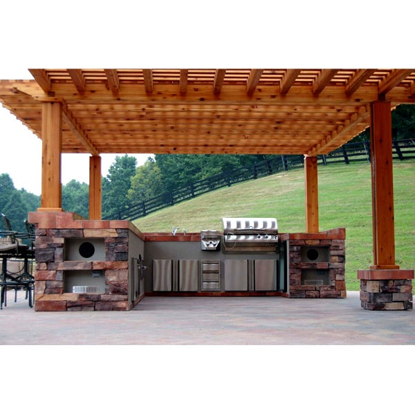 Rose grill island project for Outdoor kitchen under pergola