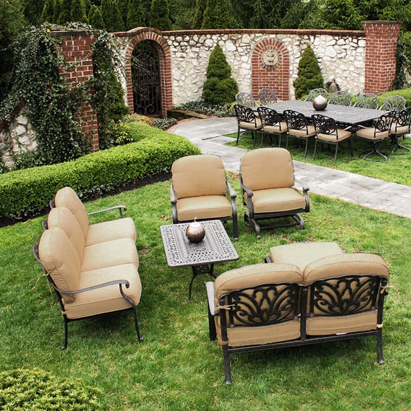 Cast Aluminum Patio Furniture Heart Pattern: Deep Seating