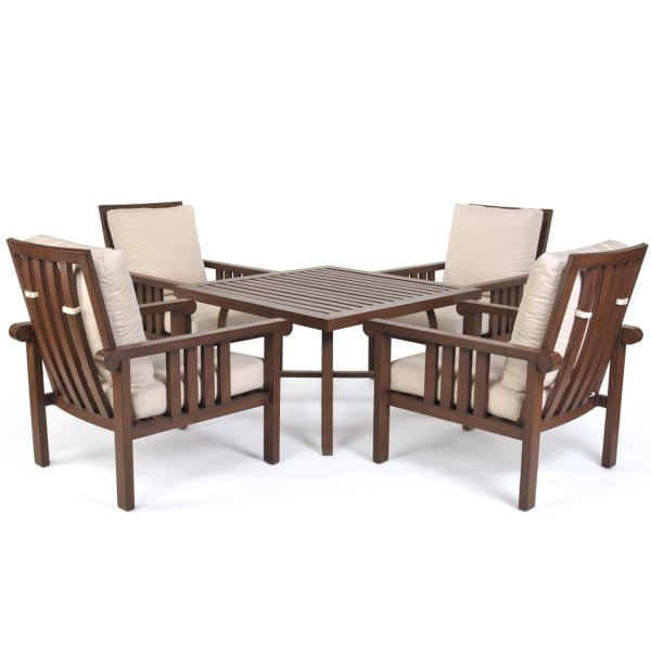 Beautiful Rustic Patio Chat Set With Mission Style Designs U0026 Lovely Mocha Walnut  Finish ...