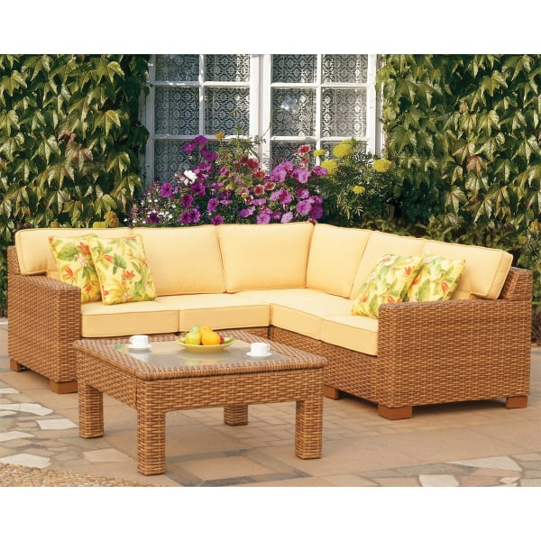 Beautiful All-Weather Honey-Colored Outdoor Wicker Sectional Set - Miriana Wicker - Sectional By Leisure Select