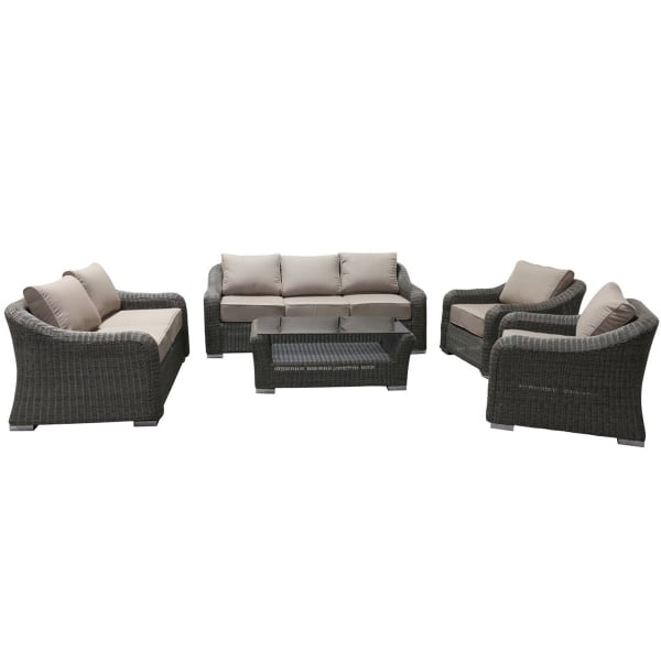 Beautiful ... Palm Coast Deep Seating A Modern 5 Piece Deep Seating Wicker Patio Set  With All Weather ...